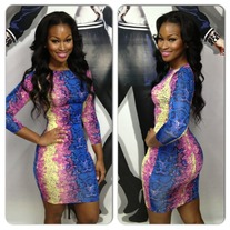 Color snakeskin dress