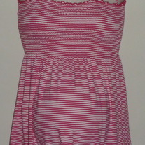 Pink/White Stripe Spaghetti Strap Tank-Motherhood Maternity Size Medium