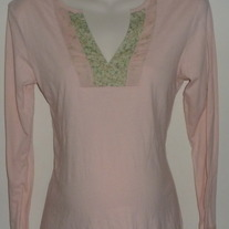 Long Sleeve Pink Shirt with Green Floral Neckline and Sleeves-Old Navy Maternity Size Medium