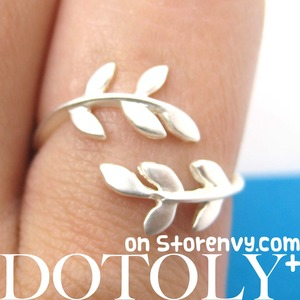 Floral Leaves Wrap Around Adjustable Ring in Silver