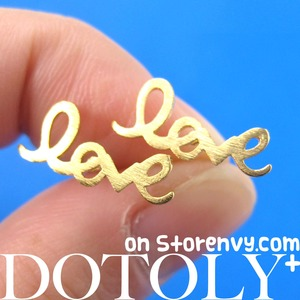 Love Cursive Stud Earrings in Gold with Sterling Silver Posts