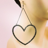 Large Heart Dangle Earrings