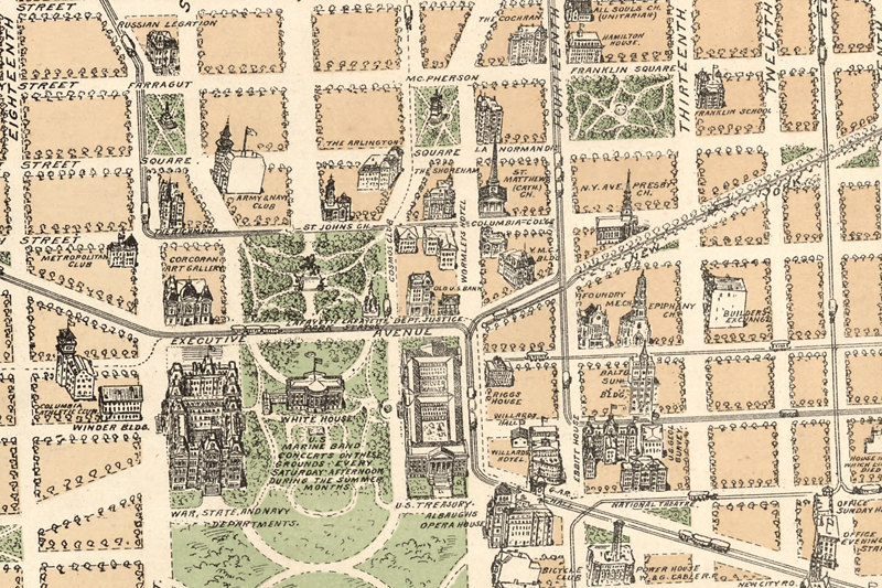 Urban Yore | 1892 Washington DC Vintage City Map Canvas Print ... on