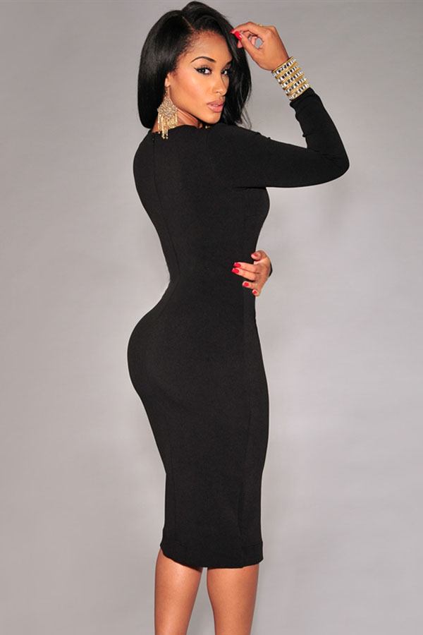 Long Sleeves Front Split Rose Polyester Sheath Knee Length Dress