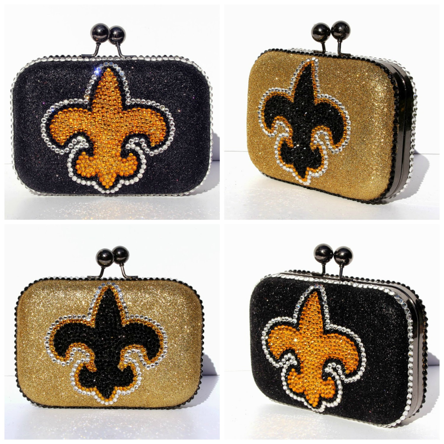 Fleur de lis glitter and swarovski crystal clutch in your for Fleur glitter
