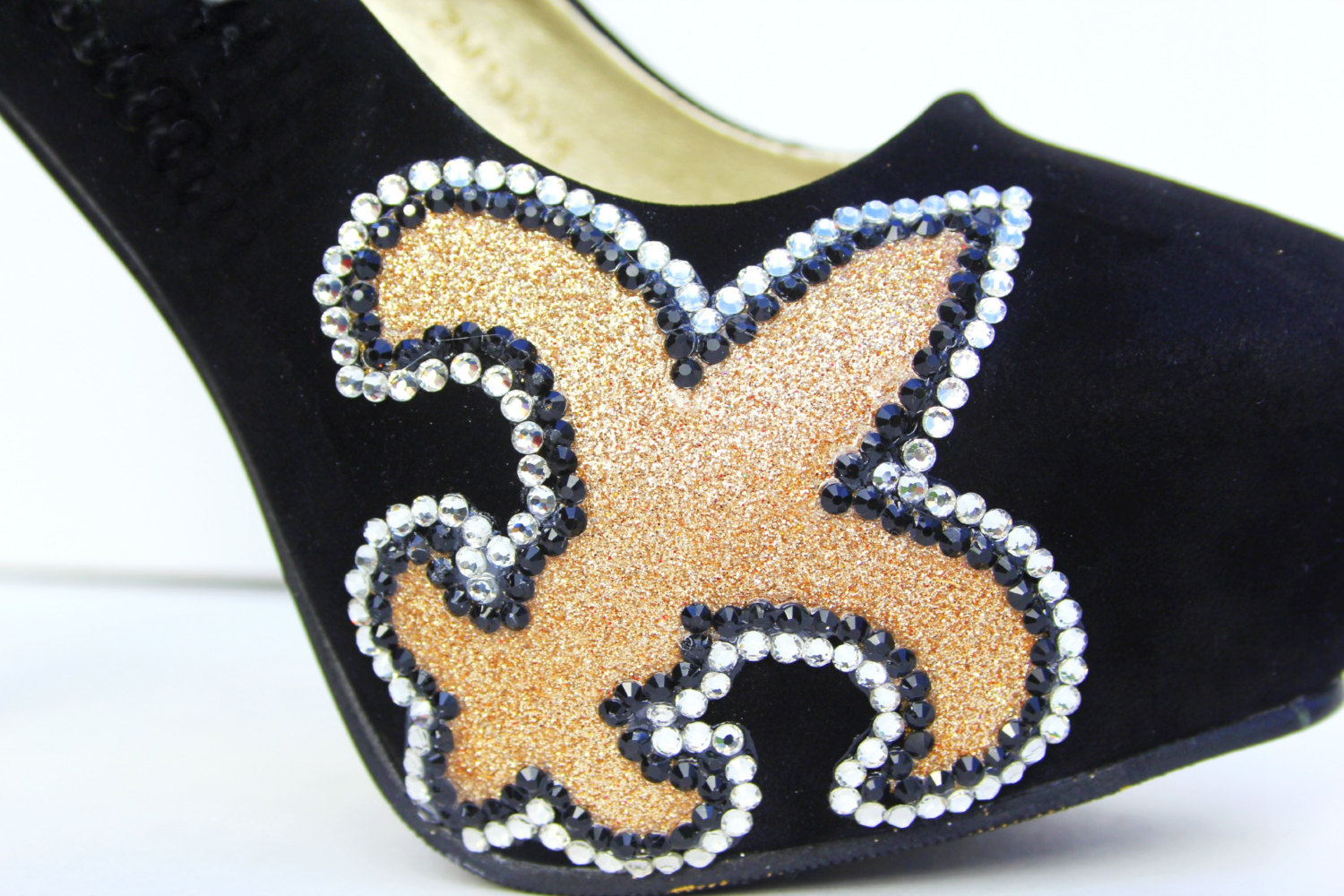 Fleur de lis heels with swarovski crystals with black and for Fleur glitter