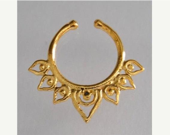 unique gold plated septum for non pierced nose septum