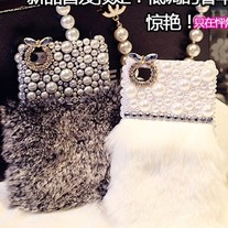 New Chic Synthetic Rabbit Fur Pearls Crystals iPhone Case