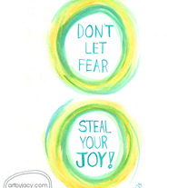 """Joy Stealer"" Blue/Yellow, 5x7 Matte Print Inspiring Watercolor Quote Illustration"