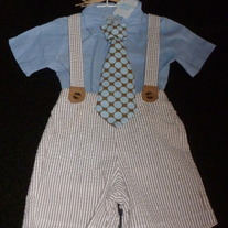 Mudpie Seersucker 2 Piece Set with Tie-NEW-Mudpie Size 12-18 Months