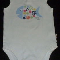 White Sleeveless Onesie with Fish-Baby Gap Size 18-24 Months