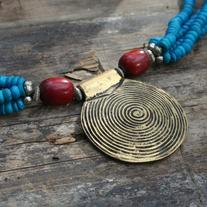 bronze spiral boho statement necklace