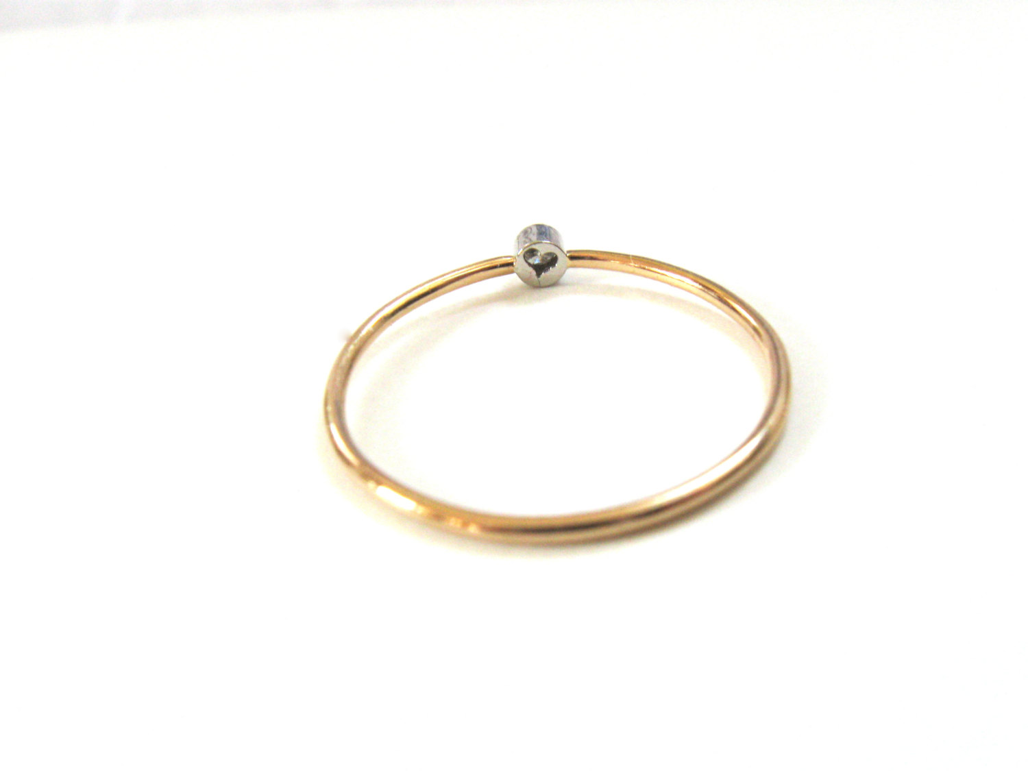 Tiny diamond ring platinum and gold ring delicate gold ring tiny