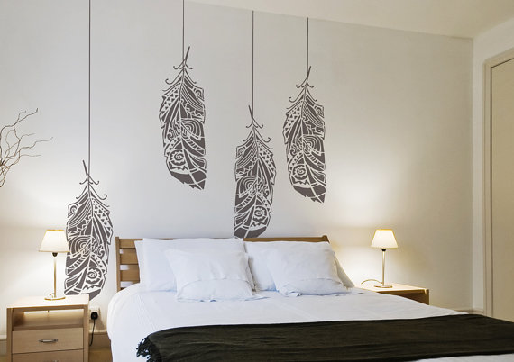 Forest feathers large decorative scandinavian wall Scandinavian wallpaper and decor