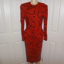 Vintage Red Peplum Button up Dress Size 10