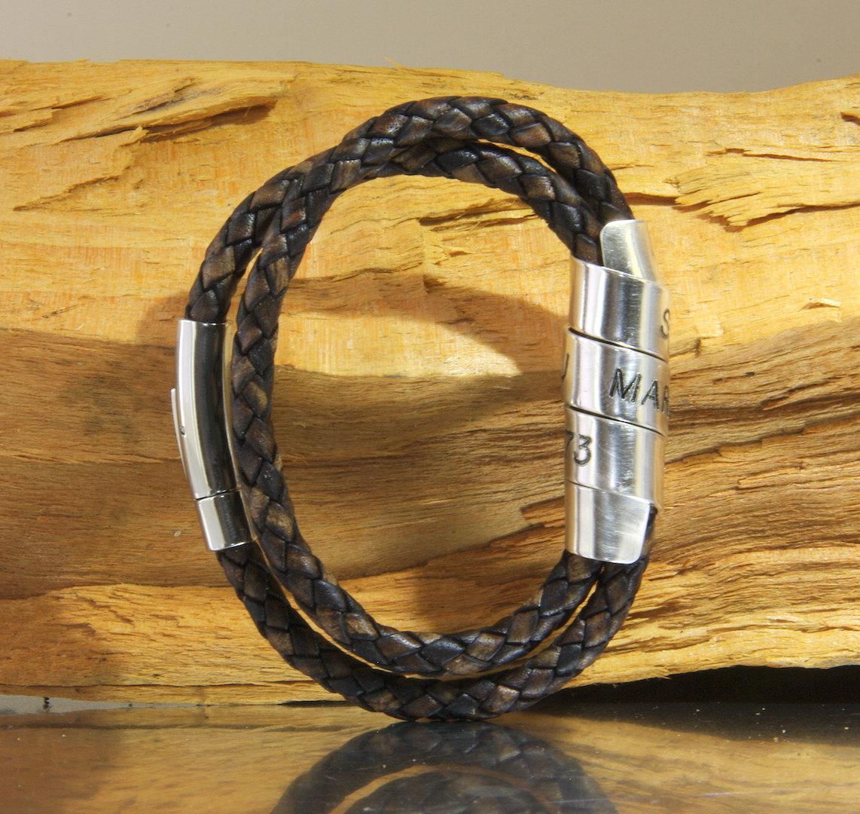 Mens Wrap Bracelet Custom Engraved Leather Wrap Cuff