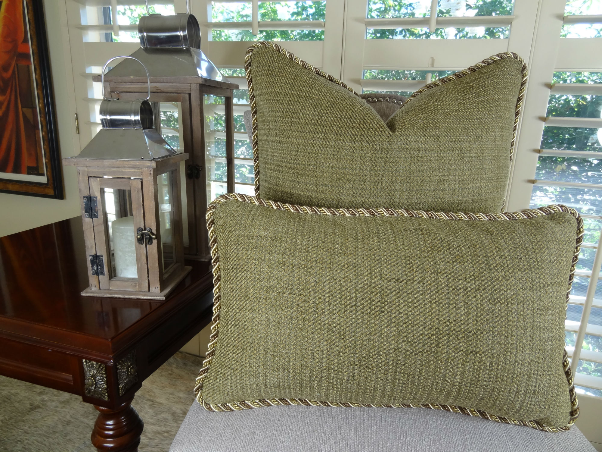 22 X 22 Designer Decorative Throw Pillow  Citrine Green