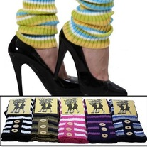 1 pair brown blue black pink white purple striped leg warmers knee-high loose legwarmers