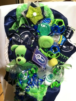 Seattle Seahawks Themed Baby Gift Basket · Tiny Twelves Etc ...