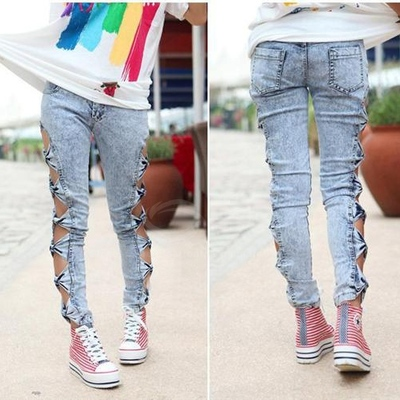 Hollow bow skinny jeans