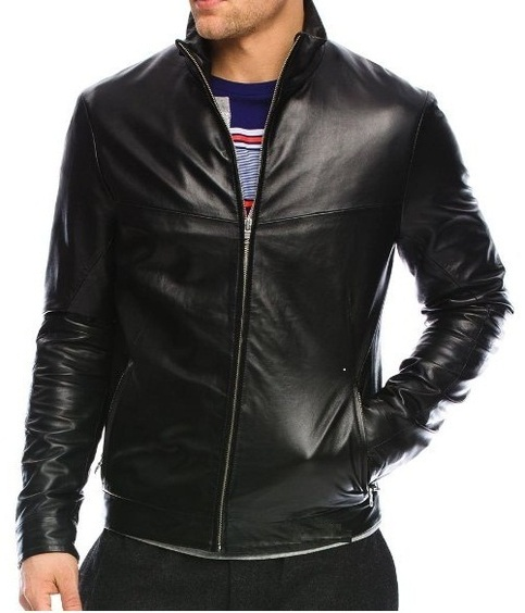 HANDMADE MENS BLACK COLOR LEATHER JACKET MEN BOMBER ...