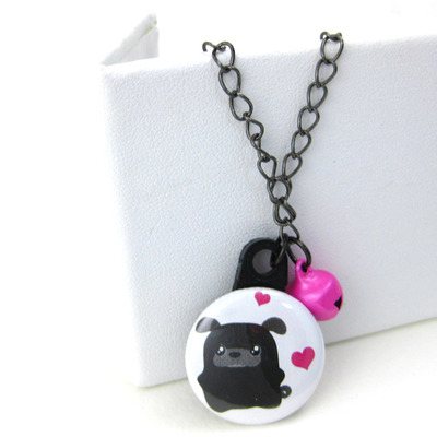 Black pug necklace pink bell