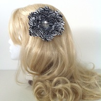 big diamond rhinestone jewel black white zebra stripe peony hair flower clip