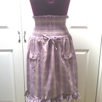 L and XL - purple smocked rockbilly high waist tartan plaid full skirt
