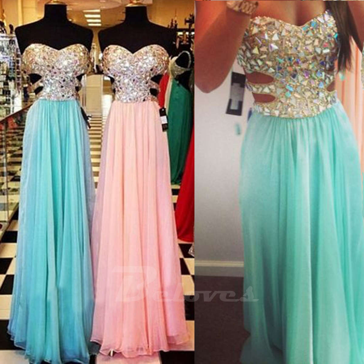 2015 Beaded Sweetheart Prom Dress With Cut Out Waist