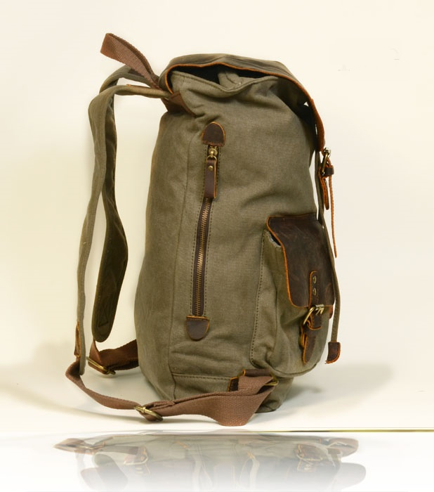 Canvas Leather Backpack Green · E A Z O · Online Store Powered by ...