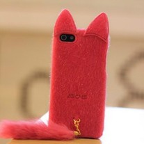 New Chic Korean Plush Cat Head w/Tail iPhone 5 Case