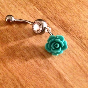 Turquoise Rose Belly Ring