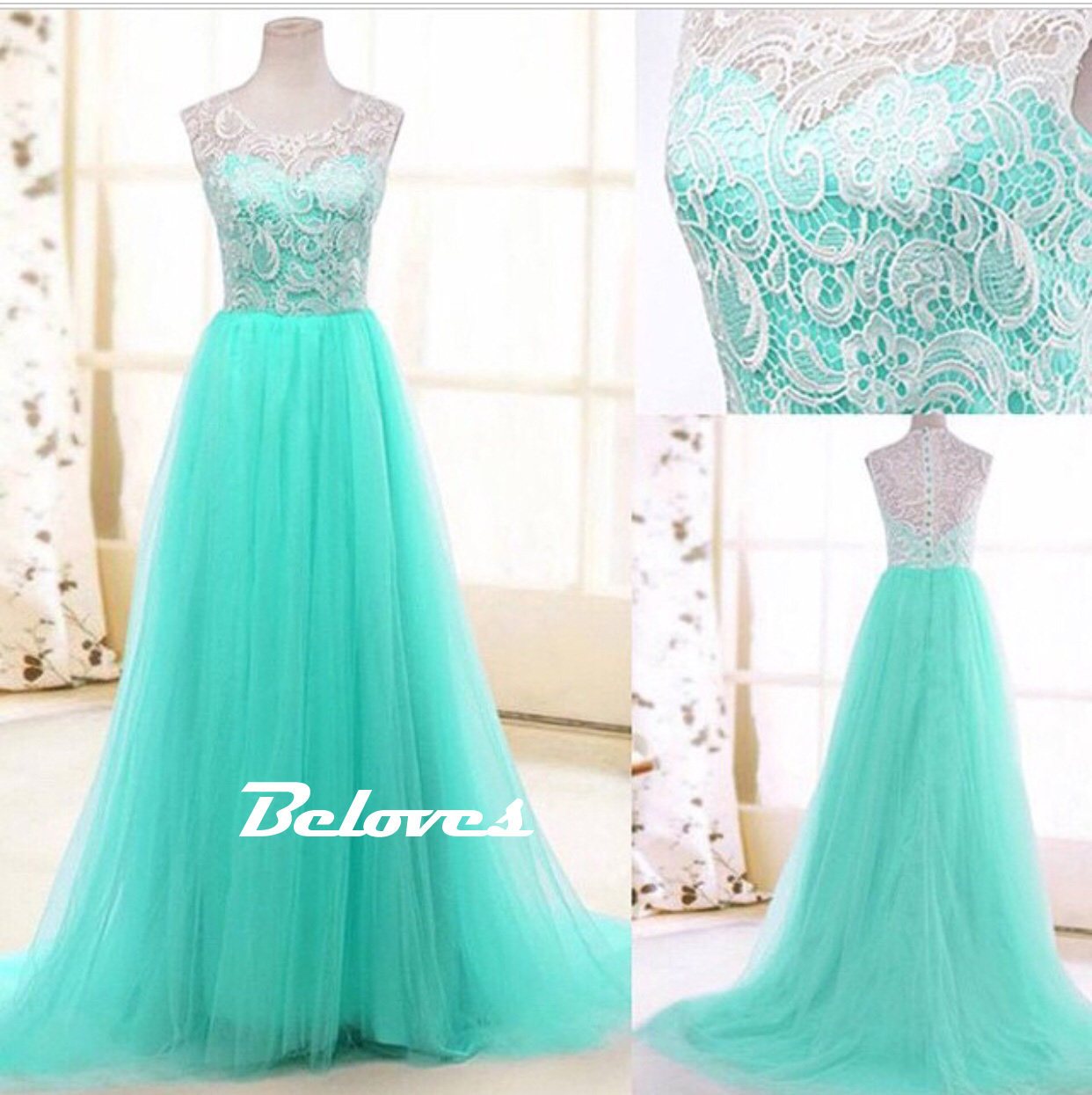 2015 Mint Tulle A Line Prom Dress With Lace Bodice · Beloves ...