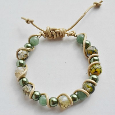 Free us shipping mystic -dragon vein agate and green glass pearl adjustable leather bracelet