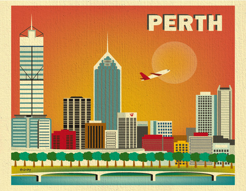 perth australia skyline 11 x 14 poster wall city art for scooby doo mystery van giant wall stickers by roommates