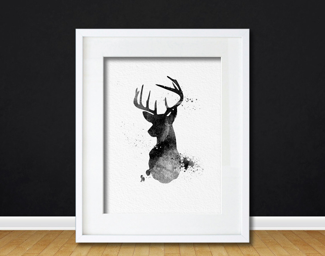 Wall Art Of Deer : Watercolor art buck deer gift modern wall decor