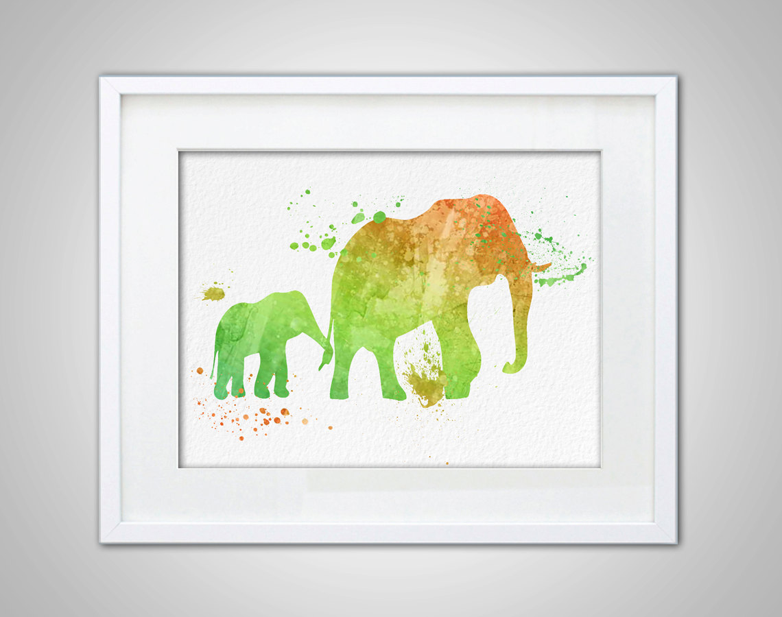 Wall art elephant - Watercolor Art Elephant Gift Modern 8x10 Wall Art Decor Baby And Mother Elephant Illustration Art Wall