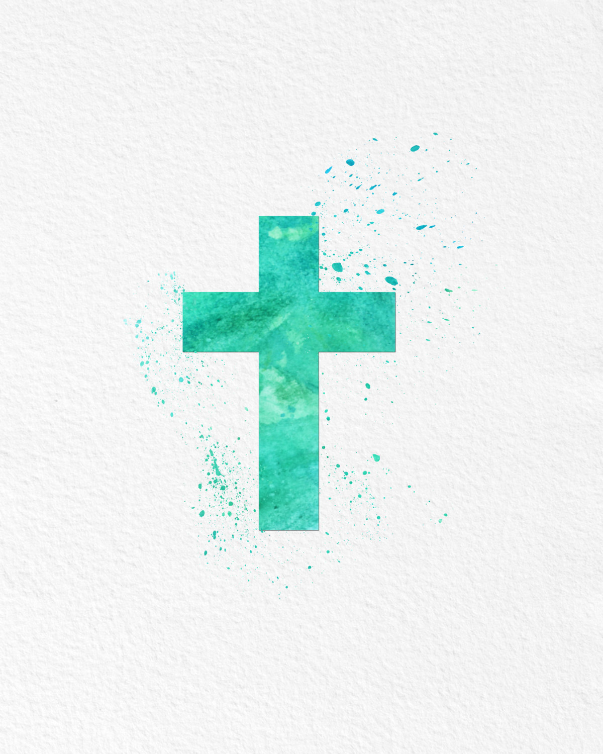 Watercolor Art Christian Cross Religious Gift Modern 8x10