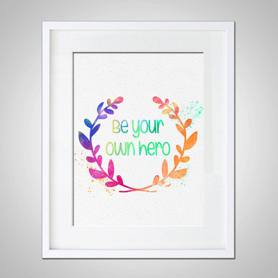 Watercolor Art Motivational Quote Gift Modern 8x10 Wall Art Decor  Motivational Quote Wall Hanging Be Your Own Hero Print · AmourableArt ·  Online Store ...