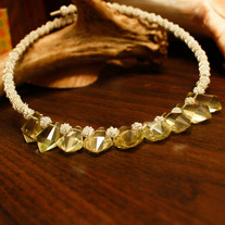 Lemon Citrine Memory Wire Necklace