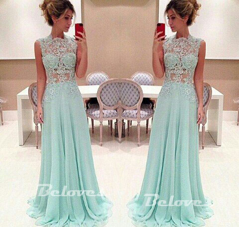 2015 Light Green Chiffon Prom Dress With Sheer Lace Bodice · Beloves ...