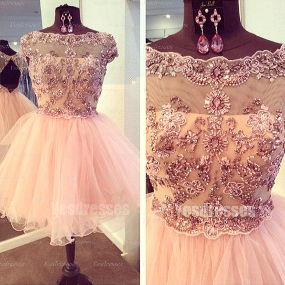 Pink prom dress, princess prom dress, short prom dress, prom dress ...