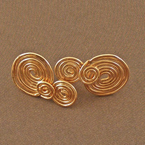 Solid Copper Swirl Post Earrings