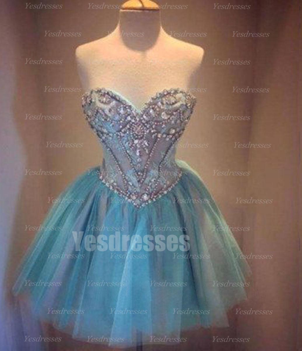 Blue prom dress, pretty prom dress, formal prom dress, short prom ...