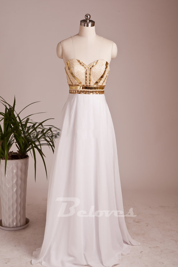 White Sweetheart Prom Dress With Beaded And Gold Sequins Bodice ...