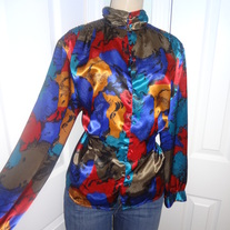 Vintage Long Sleeve Detailed Colorful Blouse Size 10!