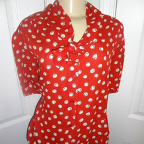 Vintage Plus Size Red Tie up Shirt Size 22W!