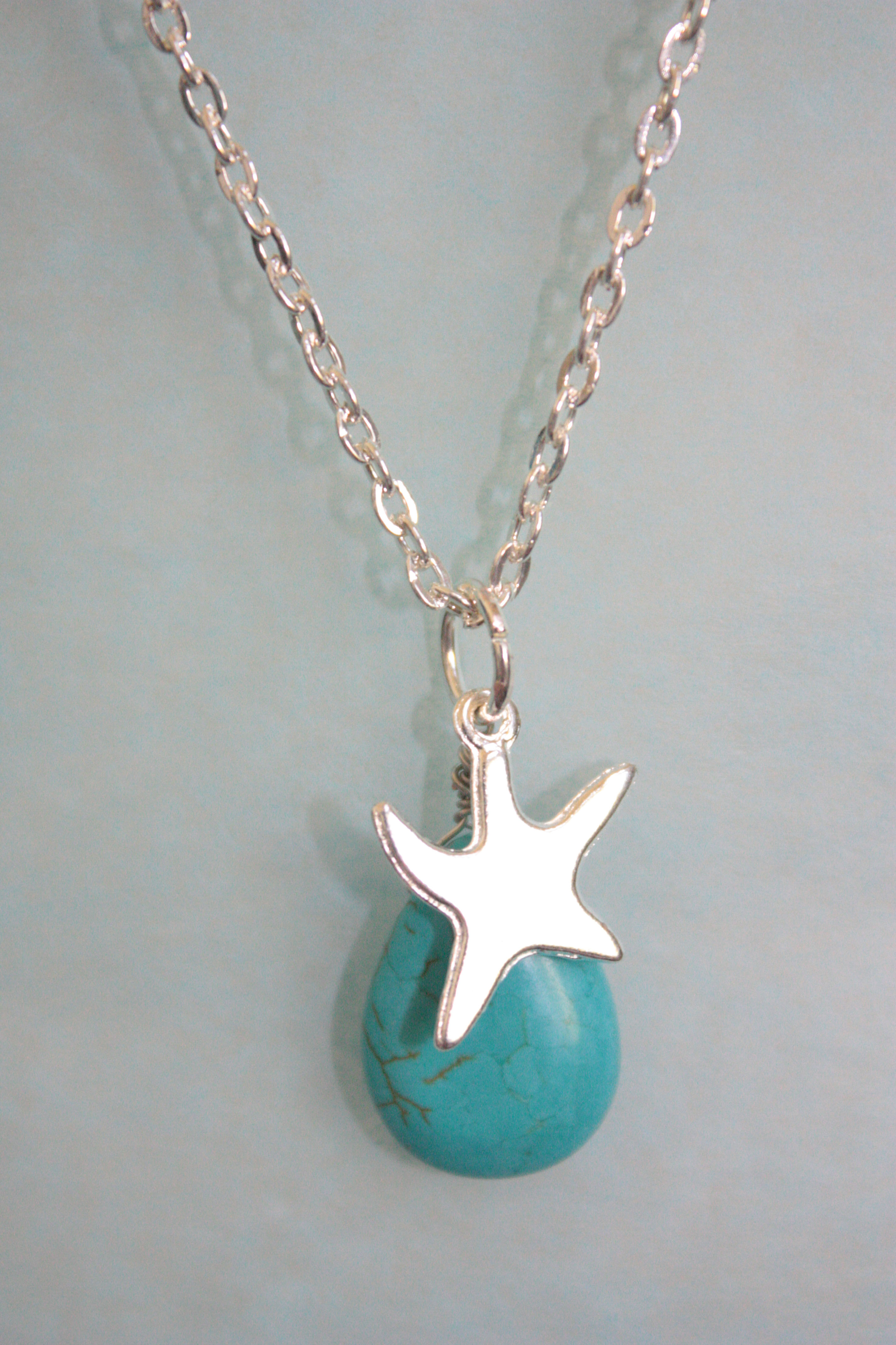 turquoise starfish necklace on storenvy