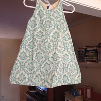 **ON SALE**  Aqua Damask Dress (Not Reversible)