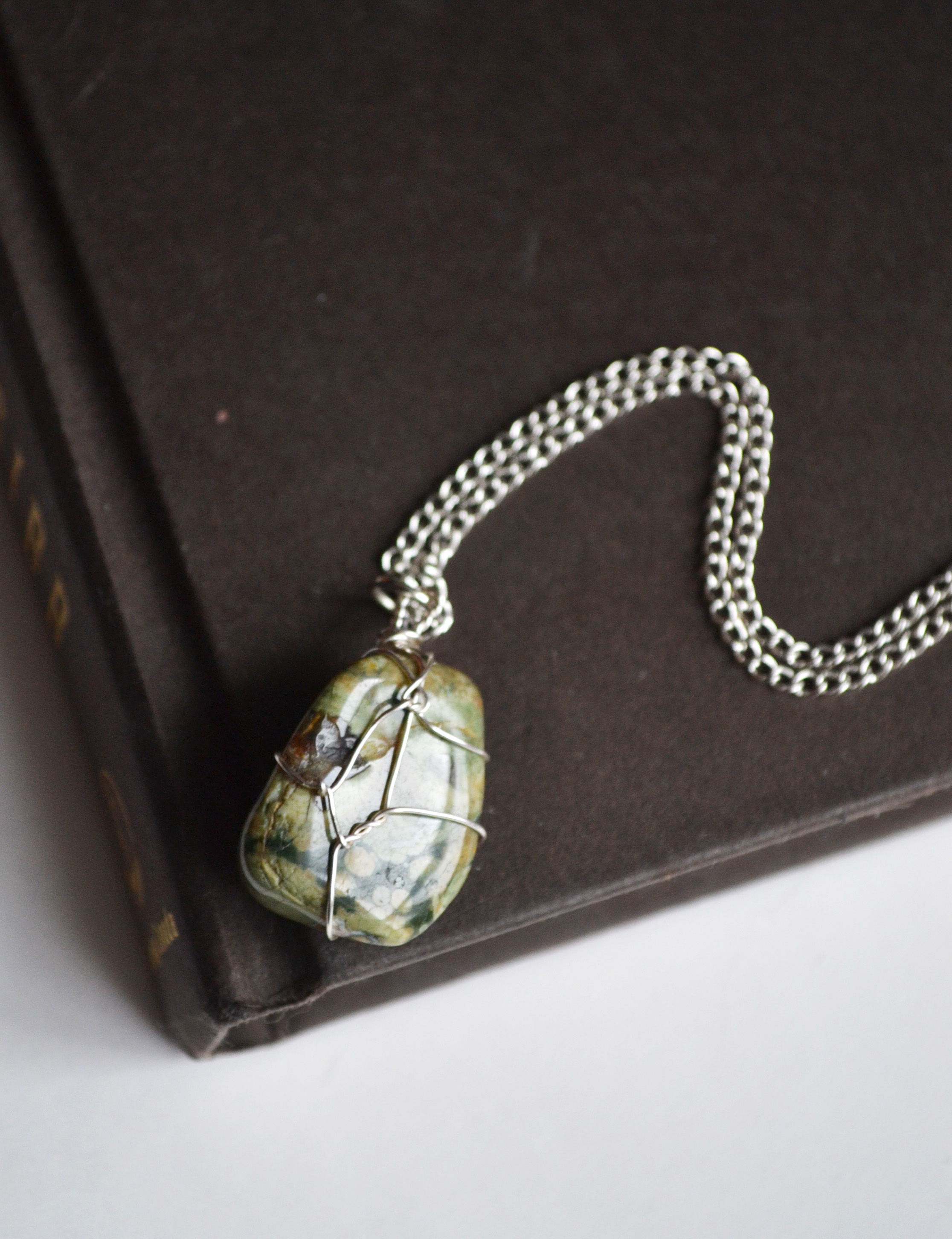 Rainforest Jasper Necklace, Wire Wrapped Stone Necklace, Wire ...